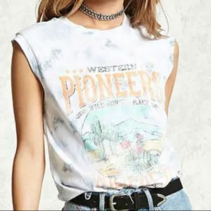 Forever 21 Wild West Tie Dye Graphic Tank Shirt